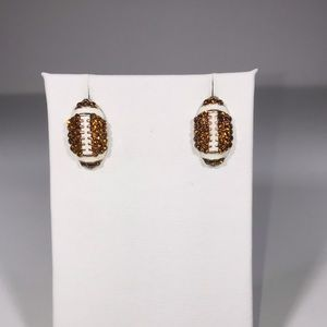 Adorable Crystal Football Stud Earrings